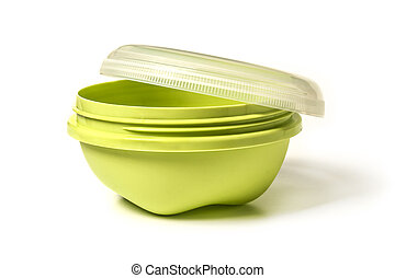 Plastic tableware with lid for food