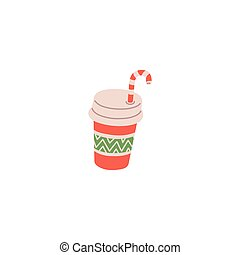Plastic take away glass of drink with straw, flat vector illustration isolated.
