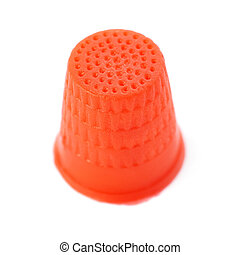 Plastic thimble isolated over the white background