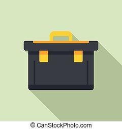 Plastic tool box icon, flat style
