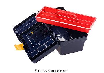 plastic tool box on white background