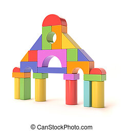 Plastic toy blocks, little castle front. 3D