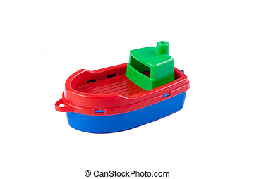 plastic toy boat on white background