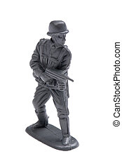 plastic toy soldiers on white background