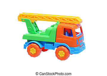 Plastic toy truck with a ladder.