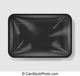 Plastic tray container with cellophane cover. Mockup...
