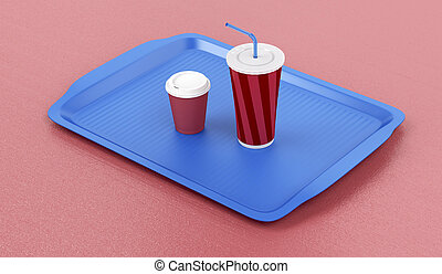 Plastic tray with coffee and soft drink