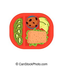 Plastic tray with slices of kiwi and melon, cupcake and sandwich, top view.. Food for lunch. Flat vector icon