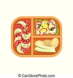 Plastic tray with tasty food. Boiled potatoes, delicious sandwich, vegetables. Delicious meal for lunch. Flat vector design