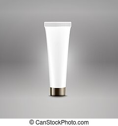 Plastic tube advertising vector template. Cream bottle template for brand logo