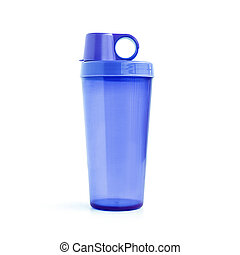 Plastic tumbler with cover - isolated on white background