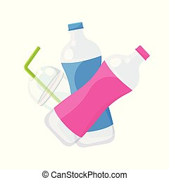 plastic waste dump isolated on white background, plastic bottle garbage waste and straws in plastic cup garbage, illustration garbage waste for pollution