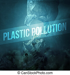 Plastic waste polluting ocean water