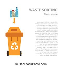Plastic waste sorting flat concept.