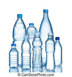 Plastic water bottles isolated on white background