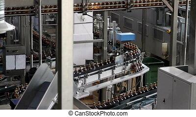 Plastic water bottles on conveyor