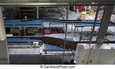 Plastic water bottles on conveyor or water bottling machine
