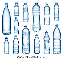 Plastic water bottles set isolated on white background