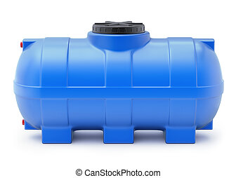 Plastic water cistern - Blue plastic water cistern on white...