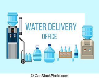 Plastic water delievery bottles vector illustration. Different sizes of cartoon containers for water, coolers and equipment. Blue empty bottles poster. Clean water delivery. Best offer.