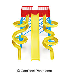 Plastic water slides isolated on a white background. Front view.
