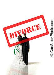 plastic wedding couple wtih red divorce stamp
