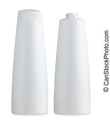 Plastic white cosmetics bottle