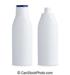 Plastic white cosmetics bottles