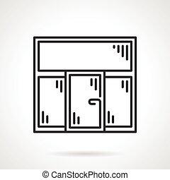 Plastic window black line vector icon