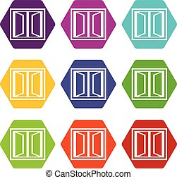 Plastic window frame icons set 9 vector