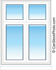 Plastic window in color isolated on white background