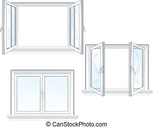 Opened and closed window, vector illustration