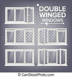 Plastic Window Vector. Double-Winged. White. PVC Windows....