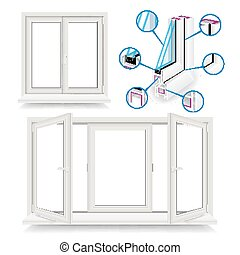 Plastic Window Vector. Infographic Template. Plastic Window Frame Profile. Isolated Illustration