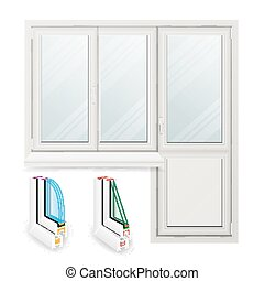 Plastic Window Vector. Opened Door. Home White Window Design Concept. Isolated On White Background Illustration