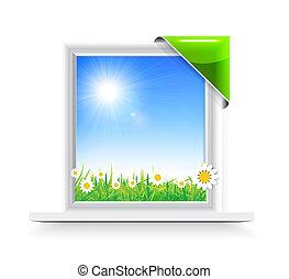 Plastic window with badge