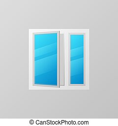 Plastic window with blue bright glass vector icon