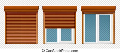 Plastic window with wooden rolling shutter