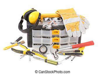 Plastic workbox with assorted tools. Isolated on a white...