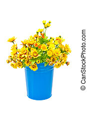 Plastic yellow flowers with metal blue vase.