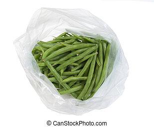 plastic zak, met, fris, spersiebonen