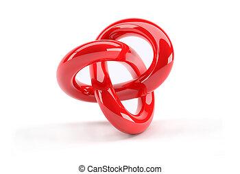 plastica, astratto, oggetto, rosso, 3d