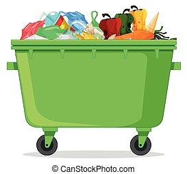 plastica, containe, immondizia, isolato