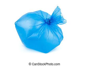 plastica, immondizia, nodo, trasparente, gonfiato, blu, borsa, legato