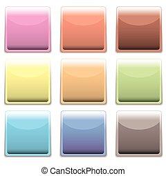 plastica, sottile, quadrato, icona, web