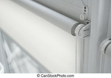 plastica, struttura, room., tessuto, legno, finestra, rullo...