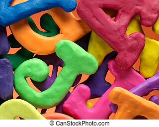 plasticine alphabet letters vibrant background