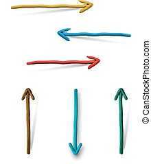 Plasticine arrows on white background