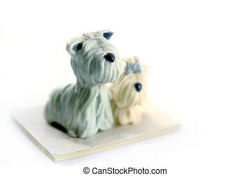 plasticine, blanc, fait main, chien, isolé