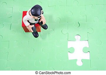 Plasticine businessman decides a puzzle